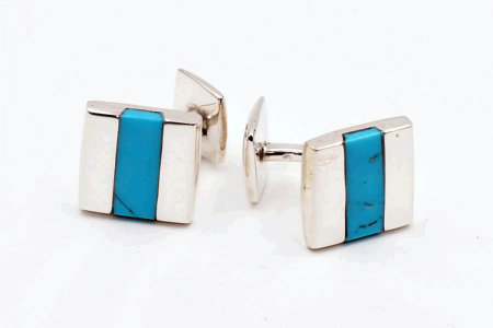 Squared turquoise cufflinks