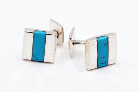 Squared turquoise cufflinks