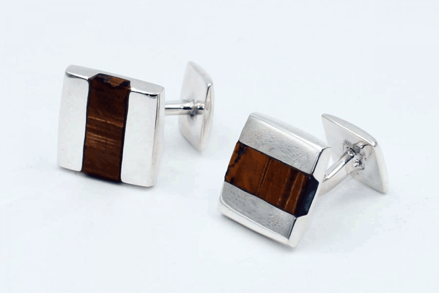 Squared tiger's eye cufflinks