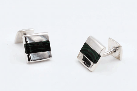 Squared malachite cufflinks