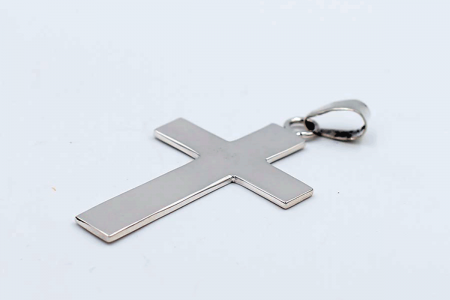 Long flat cross plain pendant