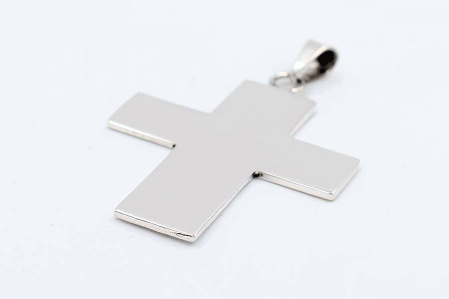 Wide flat cross plain pendant
