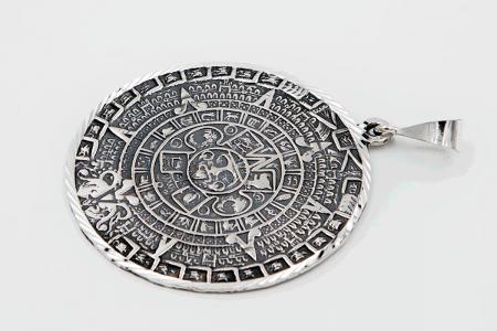 Distressed Aztec sun pendant