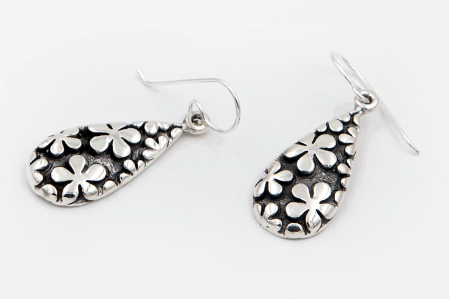 Distressed flower drop earrings