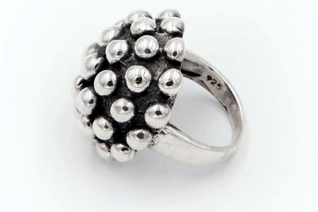Distressed half sphere ring...